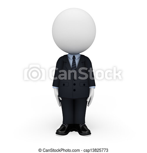 3d white people as business man - csp13825773
