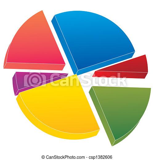 color 3d pie chart - csp1382606