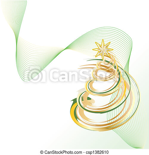 Vector Clipart of Christmas tree - Shiny Gold Christmas ...