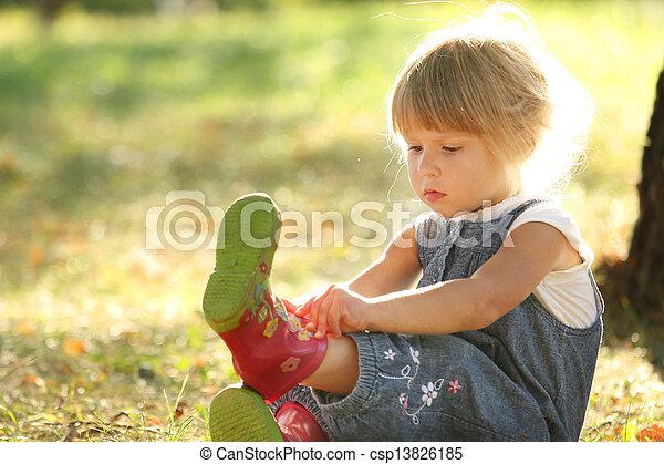 beautiful little girl on nature - csp13826185