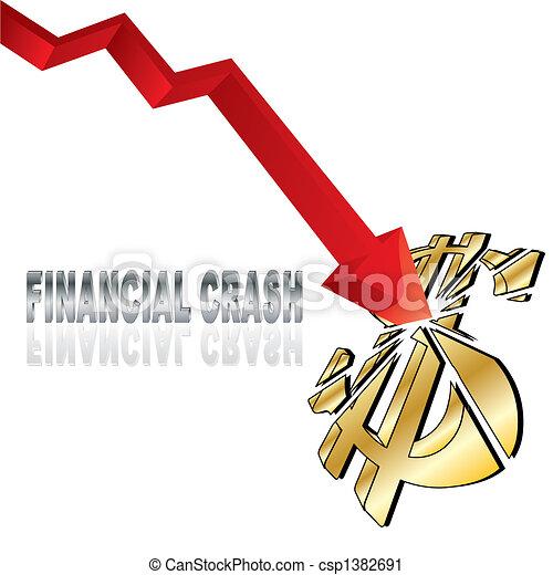 Vector Clip Art of Financial crash with red diagram arrow ...