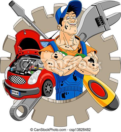 vector of cheerful mechanic abstract illustration of a auto mechanics clip art free auto mechanics clip art