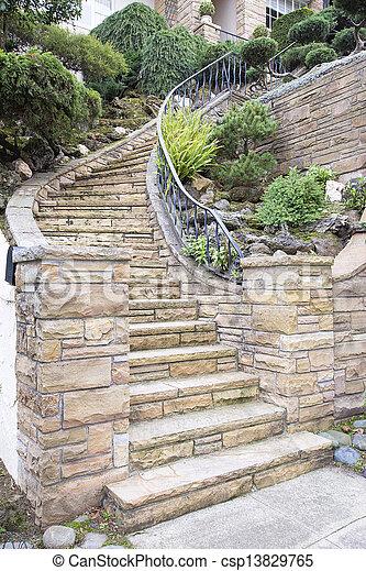 stock bild von stein treppenaufgang au en fassade daheim furnier csp13829765 suchen. Black Bedroom Furniture Sets. Home Design Ideas