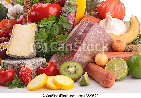 composition of fruit,vegetable,meat and cheese - csp13829870