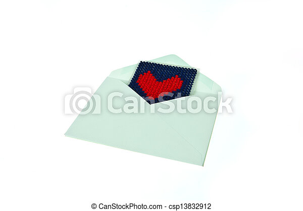 Green envelop with red knitted heart isolated on white background - csp13832912
