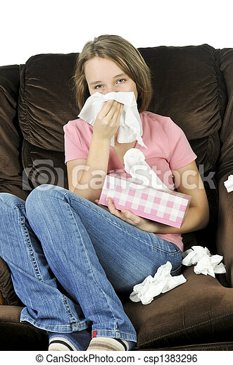 Teenage girl with a cold - csp1383296