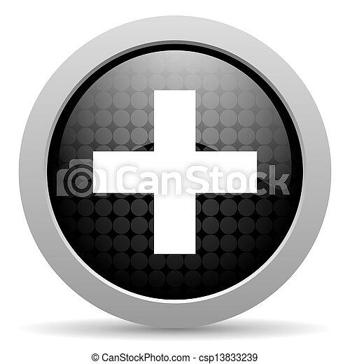emergency black circle web glossy icon - csp13833239