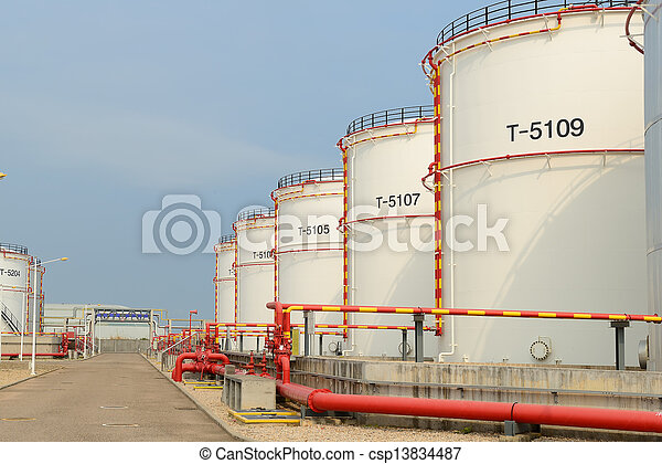 big Industrial oil tanks in a refinery - csp13834487