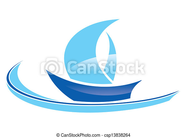 Clip Art Vector of blue sailing boat stylized on a white background csp13838264 - Search Clipart ...