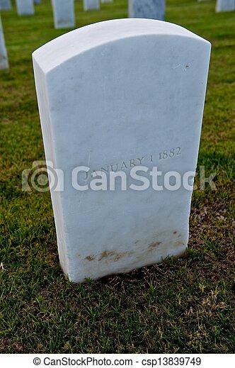 White Marble Military Style Headstone or Gravestone - csp13839749