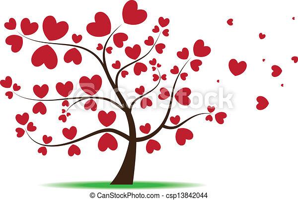 vecteur eps de coeur feuilles amour arbre rouges vecteur image csp13842044. Black Bedroom Furniture Sets. Home Design Ideas