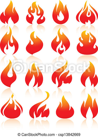 Fire flames red, set icons - csp13842669