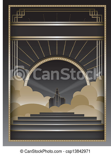 Art Deco Background and Frame - csp13842971