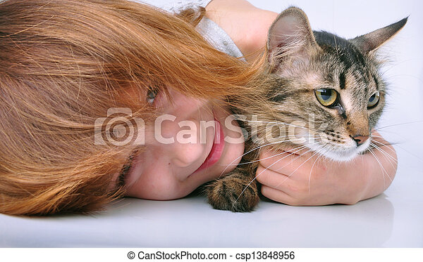 little girl communicating with her pet - csp13848956