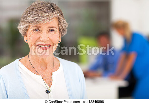 senior woman in doctor's office - csp13849896