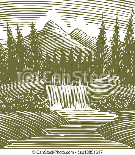 Woodcut Waterfall Wilderness - csp13851617