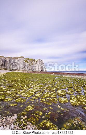 Etretat Aval cliff landmark and its beach. Normandy, France. - csp13851881