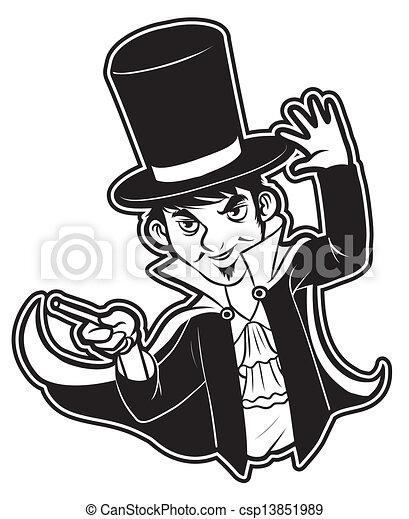 矢量-黑色, 白色, clipart, 魔术师