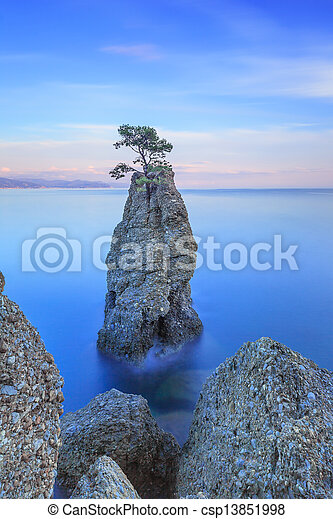 Portofino park. Pine tree rock cliff. Long exposure. Liguria, Italy - csp13851998