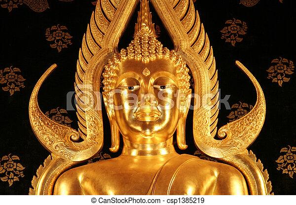 Gold Buddha Face Dan Sai Thailand - csp1385219