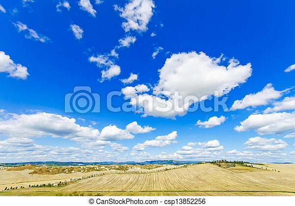Tuscany landscape, Aerial panoramic view on fields and trees in Crete Senesi land near Siena, Tuscany, Italy, Europe. - csp13852256