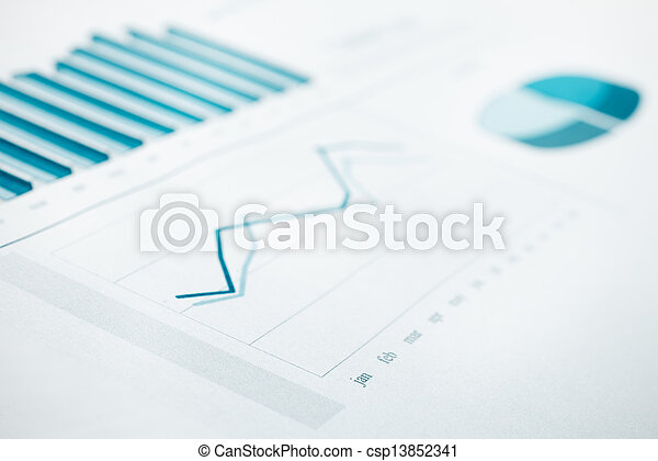 Business data report and chart print. Selective Focus. Blue toned - csp13852341