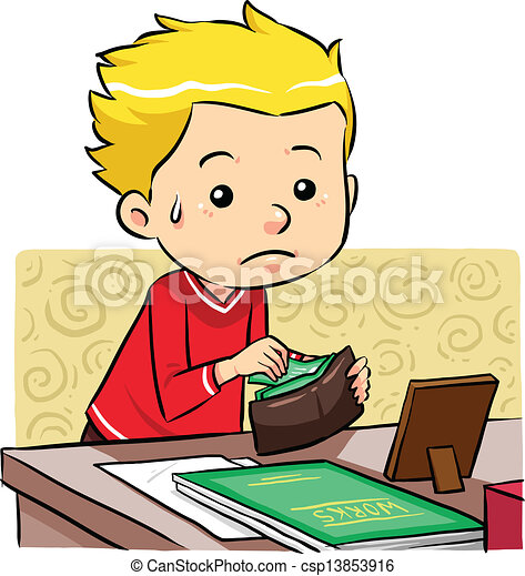 Vector Clip Art of Stealing Money - A boy stealing money in his father ...