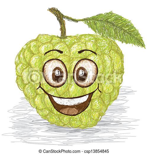 EPS Vector of happy custard apple - happy green custard ...