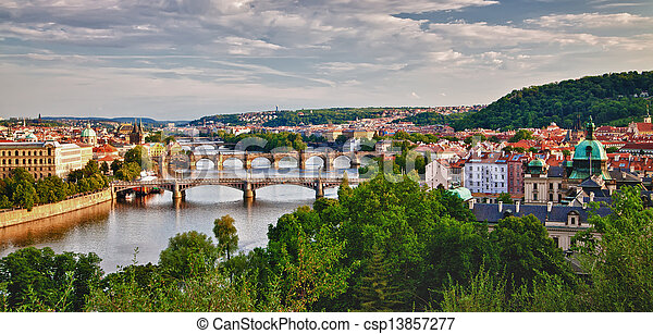 Panoramic View of Prague Bridges - csp13857277