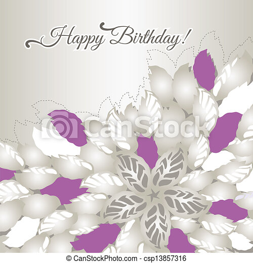 Birthday card with pink flowers - csp13857316