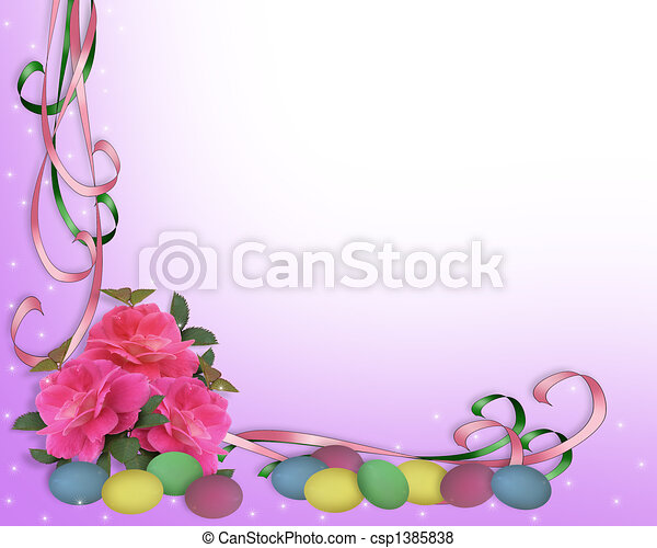Easter border corner design - csp1385838