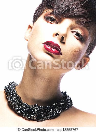 Portrait of Imposing Elegant Woman Brunette with Short Hair. Arrogance & Futurism - csp13858767