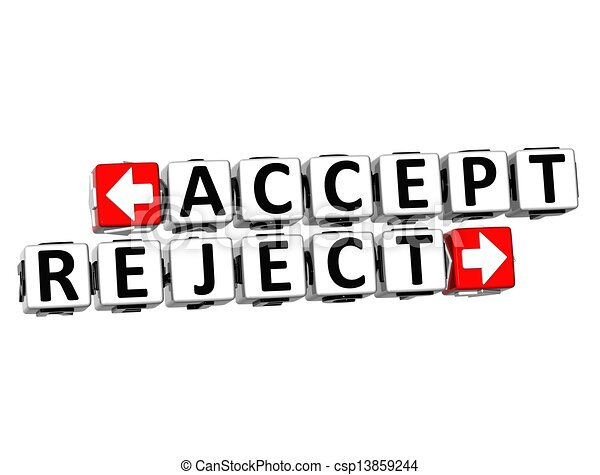 Drawing of 3D Accept Reject Button Click Here Block Text ...