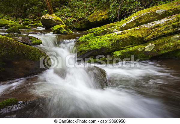 Roaring Fork Great Smoky Mountains National Park Cascade Gatlinburg TN waterfalls in lush green foliage - csp13860950