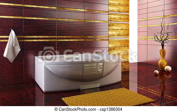 staggered tiled design of the bathroom - csp1386304