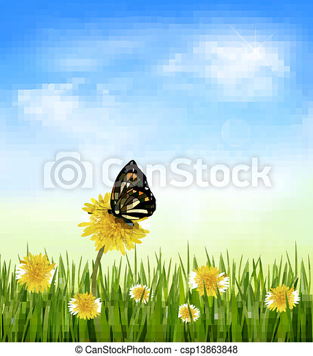 Summer background with dandelions and a butterfly. Vector.  - csp13863848