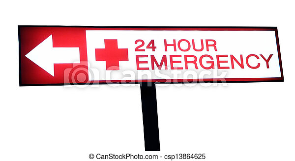 Hospital sign 24 hour emergency - csp13864625