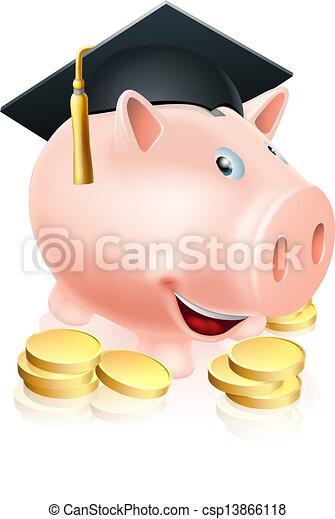 Graduation Piggy bank - csp13866118