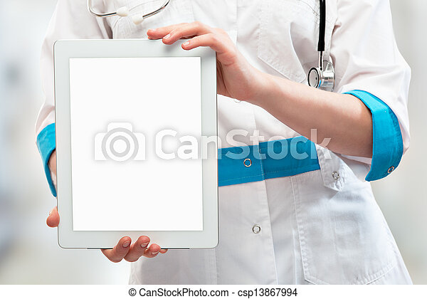blank computer tablet in the hands of doctor - csp13867994