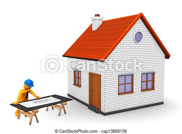 Dessins de maison architecte orange dessin anim for Dessin architecte maison