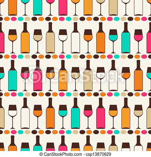 Seamless retro pattern with bottles of wine and glasses. - csp13870629