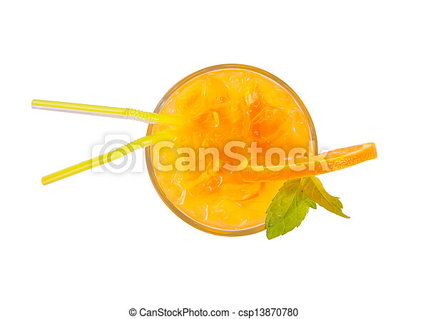 Fresh summer cocktail from upper view, isolated on white background - csp13870780