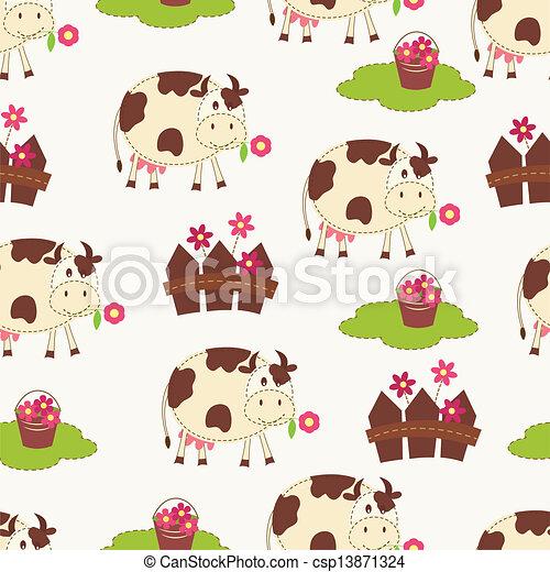 Ilustraciones de Vectores de Seamless, vacas - Seamless ...