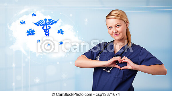 Young doctor with abstract cloud and medical icons - csp13871674