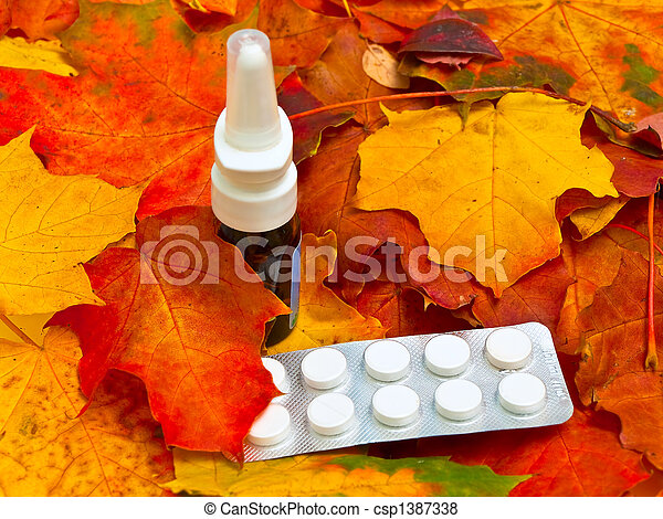 autumn leaves and medicament - csp1387338
