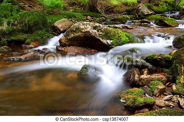 Waterfall In national park Krkonose - Czech - Cernohorsky waterfall - csp13874007