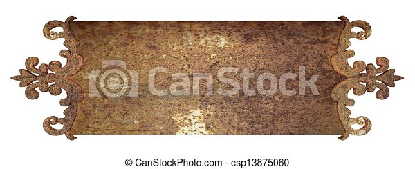 Stock illustration of rust metal nameplate design element for Mural name plate designs