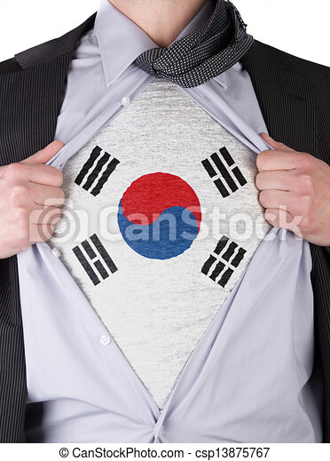 Business man with South Korean flag t-shirt - csp13875767