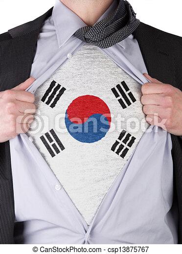 Business man with South Korean flag t-shirt - csp13875767