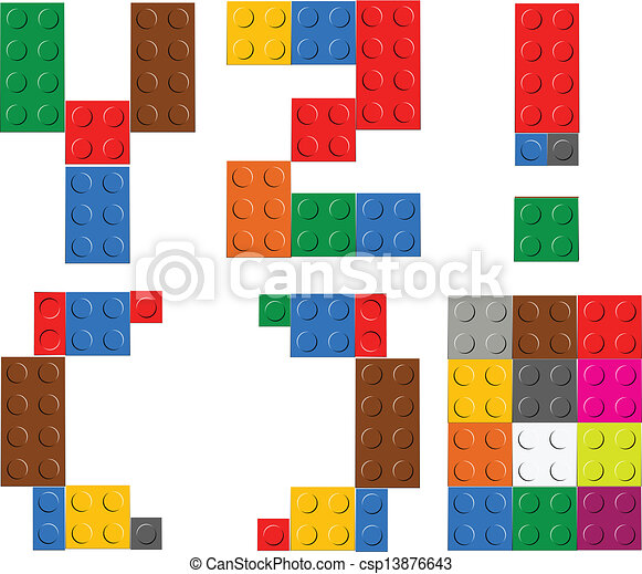 Playing brick toy alphabet letters - csp13876643